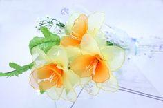 Nylon Flower Daffodil Bouquet 3 Daffodils by BlissWondersFloral