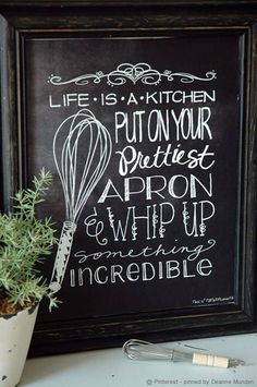 I'd love a chalk board in the kitchen. Also great homemade gift idea!
