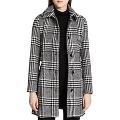 Calvin Klein Belted Plaid Coat (4.374.645 IDR) ❤ liked on Polyvore featuring outerwear, coats, belted coats, tartan coat, plaid coat, calvin klein coats and wool blend coat