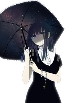 Black haired anime girl in black dress with umbrella.