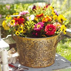 """Florentine Large Floral Bucket! only $12.96 today! Click through the picture to order at karenallison.store.willowhouse.com TGIF! You've found the April 27th Mystery Deal! Like the handled vessels found at flower markets everywhere, but enlivened with a distinctly Italian flair, our floral bucket is etched with scrolls and weathered with an antiqued finish. (Not watertight, so please use a plastic liner before using as a vase or wine chiller.) 13.5"""" x 16.5"""" x 9.25"""" H."""