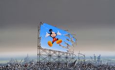 The American artist Jeff Gillette has a new show in London juxtaposing Disney icons with real-world slums. Banksy, Bristol, Disneyland, Disney Icons, Creators Project, Galleries In London, American Gods, Original Art For Sale, Selling Art