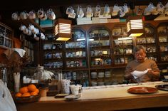 Coffee shop owner in the cutest coffee shop, possibly in the world, in Shirakawago, Japan