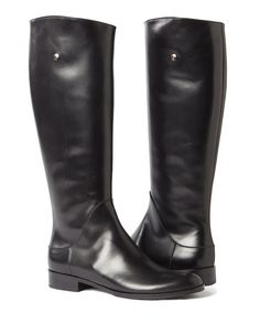 """Italian handcrafted classic black smooth calfskin leather tall equestrian polo boots - 0.5 """" (15mm) heel, approximately - 15""""H shafts, approximately - Round shape roomy toe, generous gore for wider ca"""