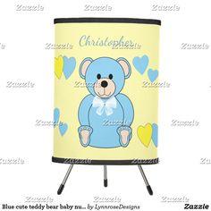 Blue Cute Teddy Bear Baby Nursery Tripod Lamp