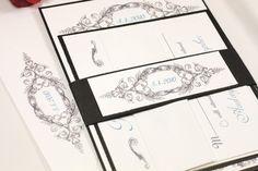Vintage Style Romantic Ornate Wedding Invitation Suite by Lemon Square Designs. $100.00, via Etsy.