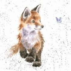 cute fox Featuring a playful fox cub chasing a butterfly this card is perfect for any occasion. The image is printed on high quality, sustainably sourced textured board and is left blank insi Fuchs Illustration, Watercolor Illustration, Watercolor Paintings, Love Drawings, Animal Drawings, Art Drawings, Baby Animals, Cute Animals, Wild Animals