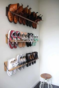 Smart Storage Hacks for Shoe Lovers Smart Storage Hacks fo. Smart Storage Hacks for Shoe Lovers Smart Storage Hacks for Shoe Lovers Smart Storage, Wall Storage, Diy Storage, Creative Storage, Boot Storage, Bicycle Storage, Cheap Storage, Cool Storage Ideas, Kitchen Storage