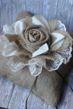 Artículos similares a Custom burlap ring bearer wedding pillow en Etsy Burlap Flowers, Burlap Lace, Lace Flowers, Burlap Wreath, Fabric Flowers, Rose Lace, Pretty Flowers, Burlap Projects, Burlap Crafts
