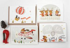 Woodland Christmas - Greeting Card Set by Yee Von Chan, via Flickr