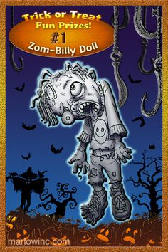"Trick or Treat Fun Prizes #1. Zom-Billy Doll. Pull his cord and he says ""Brains!"""