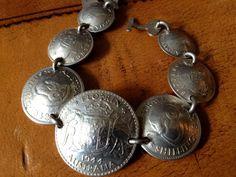 Vtg Australian Silver Coin Bracelet