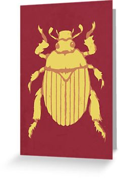 Christmas Beetle Christmas card by Richard Morden. Stencil art style. Designed as a Christmas Card. The Christmas Beetle, Anoplognathus pallidicollis, can appear in large numbers approaching the Christmas holiday season in Australia. They are large beetles, often appearing shiny gold or metallic green.