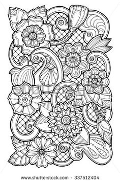 Doodle background in vector with doodles, flowers and paisley. Vector ethnic pattern can be used for wallpaper, pattern fills, coloring books…