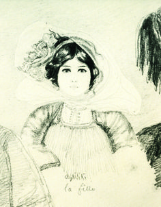 Details from pencil drawings by Benjamin Mary depicting girls wearing the Skopelos costume, 1840-1842. From Benjamin Mary, Νεοελληνισμού απαρχές. Προσωπογραφίες από την Ελλάδα του Όθωνα/La Grèce nouvelle. Portraits Grecs (1840-1844), Lucy Braggiotti Editions, Athens 1992