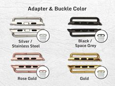 Material >>>>>>>>>>>>>>>  High quality genuine leather material with stylish finish, fashion design, simple, durable and elegant. Available in both 38mm and 42mm size.  4 colors is available for the adapter (see gallery picture 3): - silver / stainless steel - black / space grey - rose gold - gold  - Apple Watch band with metal clasp, replace Apple watch band easily and directly. - Vibrant colors are printed using the professional ultra violet printer in my studio, resulting in permanent…