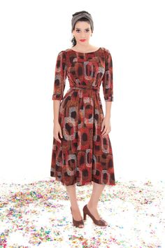 Retro printed Brown modest midi dress by TAMAR LANDAU, $110.00 #modest dress #modest fashion #midi dress