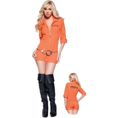 Busted Adult Costume ($28) ❤ liked on Polyvore featuring costumes, prisoner, halloween costumes, cop halloween costume, police woman costume, sexy police woman costume, bad girls and party costumes