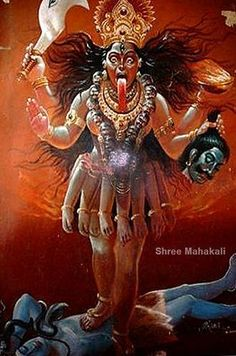 A poster of the goddess Kali standing over Lord Shiva I mean for you to scratch your head with that headline. Kali is a p. Goddess Kali Images, Indian Goddess Kali, Durga Goddess, Black Goddess, Goddess Art, Mother Kali, Mother Goddess, Kali Hindu, Hindu Art