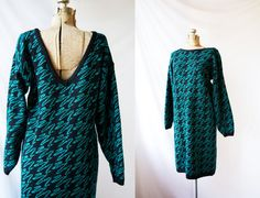 Vintage 1980's Sweater Dress Black & Green by PomegranateVintage, $35.00