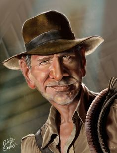 Harrison Ford (Indiana Jones) by Cris de Lara Harrison Ford, Indiana Jones, Cartoon Faces, Funny Faces, Cartoon Art, Caricature Artist, Caricature Drawing, Drawing Portraits, Drawings