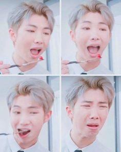 The 4 stages of eating something you think you'll like, but actually hate Kim Namjoon, Kim Taehyung, Bts Bangtan Boy, Hoseok, Seokjin, Bts Memes, Mixtape, K Pop, Rapper