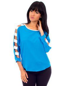 Cutout Long Sleeved Blue Top-$21.00