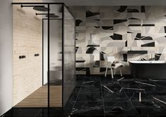 LUXUSNÁ KÚPEĽŇA - Exkluzívne kúpeľne v štýle glamour / BENEVA Take Apart, Tile Design, Classic White, Shades Of Green, Color Combinations, Tiles, Glamour, The Originals, Wall