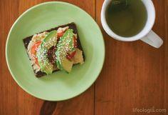 Hummus and avocado sandwich on wheat-free rye