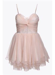 TBdress Design Debonair Straped Split Joint Pleated Mesh Women Dress