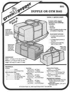 Sewing pattern for three sizes of soft sided gym or duffle bag, Duffle or Gym Bag by Green Pepper pattern company in Eugene Oregon. Duffle Bag Patterns, Bag Patterns To Sew, Sewing Patterns, Dominicans Be Like, Quilting Projects, Sewing Projects, Green Bag, Stuffed Green Peppers, Bag Storage