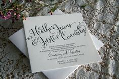Wedding Invitation - Our Julieta invitation featuring a calligraphy script font. Letterpress Wedding Stationery, Script, Place Card Holders, Calligraphy, Day, Prints, Script Typeface, Lettering, Scripts