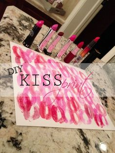 DIY Kiss Print - cute makeup room idea! Could make a picture collage and hang in the bathroom