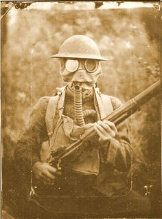 Brian Merrick in tin helmet and gas mask of the 109th Infantry The American Expeditionary Forces alias the AEF [a realistic  enhanced reenactment photo!] Photo by Rob Gibson, Gibson's Photographic Gallery, Gettysburg Pa. doughboy gas WW1