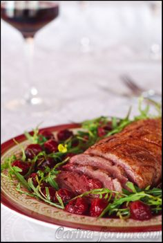 Duck Breast with Cherry Sauce ....OH MY MOUTH IS WATERING....Wonder if I can get a good chef to teach me how to make this ;)  Or maybe make it for me.  LOL ;)  Hint Hint Hint