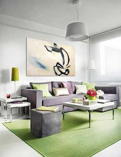 Fresh Small Apartment Living Room Design With White Wall Paint And White Ceramic Floor Tile Combined With Relaxing Lime Green Rug And Gray L Shaped Sofa And Gray Pouf And Square Coffee Table And Side Nesting Table Small Apartment Interior, Small Apartment Living, Small Apartment Decorating, Room Interior Design, Home Interior, Living Room Interior, Living Room Furniture, Cozy Apartment, Sofa Furniture