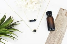 14k Gold Filled Three LAVA Bead Necklace, Essential Oil Necklace, Black Lava Bead Necklace, Survivor Necklace, Mother's Day Necklace Gift
