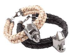 Giuliana Mancinelli Bonafaccia - Braided leather bracelet with silver dipped in balck ruthenium.
