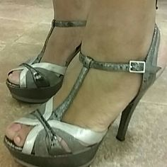 Gray, Silver, & Charcoal Heels Grey silver and charcoal heels Nina   Shoes Heels