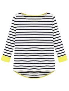 Black Long Sleeve Striped Dipped Hem T-Shirt - Sheinside.com