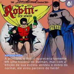 #CoxinhaCuriosa Isso porque o editor Jack Liebowitz não gostou da ideia de colocar uma criança para lutar contra gângsteres mas acabou dando o braço a torcer ao ver as vendas da edição!  #TimelineAcessivel #PraCegoVer  Imagem do Batman e do Robin com a curiosidade: A princípio o Robin apareceria somente em uma história do Batman mas com a edição de sua estreia vendeu o dobro do normal ele virou parceiro do herói!  TAGS: #coxinhanerd #nerd #geek #geekstuff #geekart #nerd #nerdquote #geekquote…