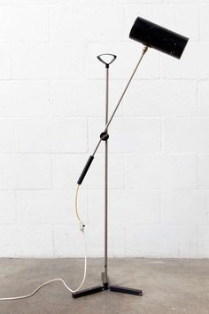 Enameled and Chromed Metal Floor Lamp by Anvia, 1960s.