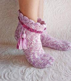 c680e4a2e Crochet womens slippers, socks womens, pink slippers, knit socks, slipper  socks,