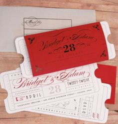Red ticket Invitations