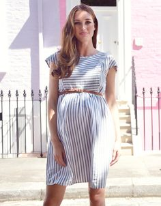 Seraphine's Cotton Stripe Maternity & Nursing Dress is a feminine choice for before, during and after pregnancy. Maternity Jacket, Maternity Nursing Dress, Maternity Swimwear, Cute Maternity Outfits, Stylish Maternity, Maternity Dresses, Summer Maternity Fashion, Maternity Styles, Maternity Clothing