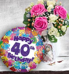 40th Birthday Flowers And Balloon Available For Uk Wide Delivery From Www Order