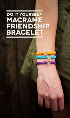 Simple! So do-able! Really like the charm in the middle! DIY macrame friendship bracelets #BHGsummer