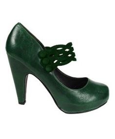 emerald green things | Dark Green Retro Maryjane Pumps – kaboodle