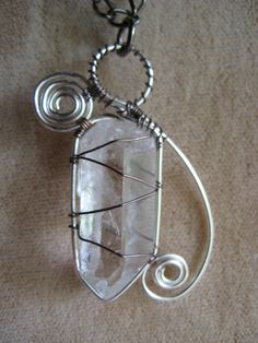 Quartz crystal point Wirework pendant necklace by Feraldesigns, $25.00
