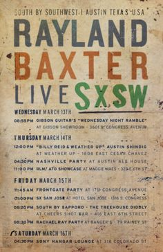 #ATOrecords #SXSW #RayLandBaxter #Poster #Design for Young Moderns